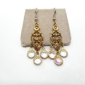Vintage Aurora Borealis Chandelier Earrings